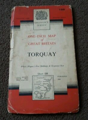 Vintage National Grid Ordnance Survey One Inch Map TORQUAY 1961 Paper