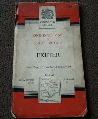 Vintage National Grid Ordnance Survey One Inch Map EXETER 1960 Paper