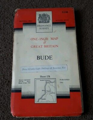 Vintage National Grid Ordnance Survey One Inch Map BUDE Cornwall 1961 Cloth