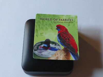 COOK ISLANDS 2014  5 DOLLARS Silber Proof Coloured Coin  CRIMSON ROSELLA