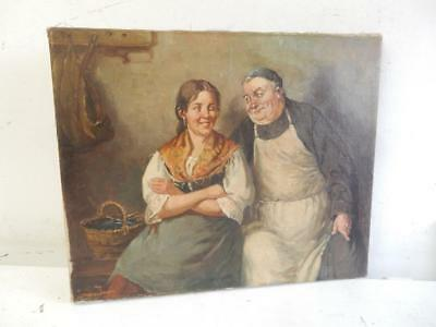 really old PAINTING oil antique woman, monk signed
