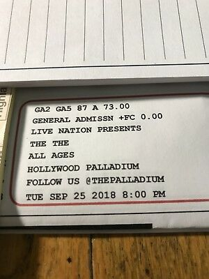 2 tickets to see the THE Concert ticket for the Hollywood Palladium SEPTEMBER 25
