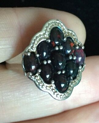 Vintage Jewellery fabulous real black opal cabochons ring size 'S' (USA 9.5)