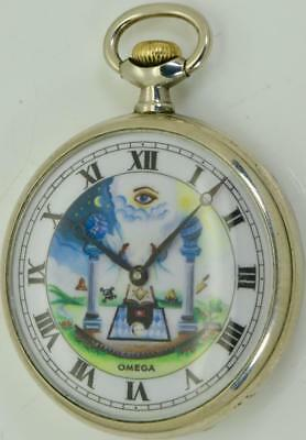 WOW! Very rare antique Omega DIGITAL SECONDS DIAL  Masonic pocket watch c1900's