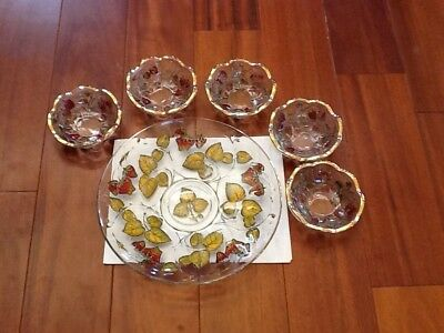 1900's - 1920's GOOFUS GLASS STRAWBERRY PLATE & 5 BOWLS