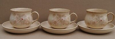 Denby Coloroll Maplewood / Sandalwood Cups Saucers X 6 Rich Cream Brown Floral