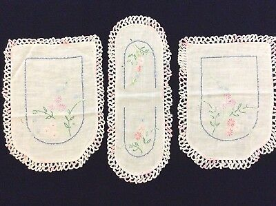 Vintage Antimacassars Linens Hand Embroidered & Crocheted Lace Edging in pink