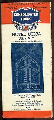 "1930's ""Haunted"" Hotel Utica Advertising Foldout Map - Utica,NY"
