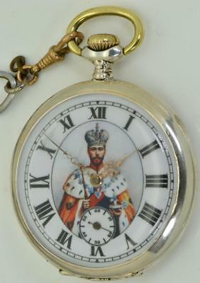 Extremely rare Imperial Russian officer award silver pocket watch&medal for Zeal