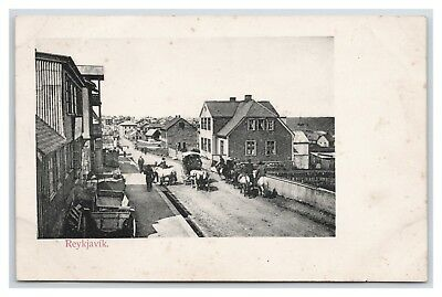 Island Iceland Reykjavik Early Postcard View With Horse Traffic Circa 1900