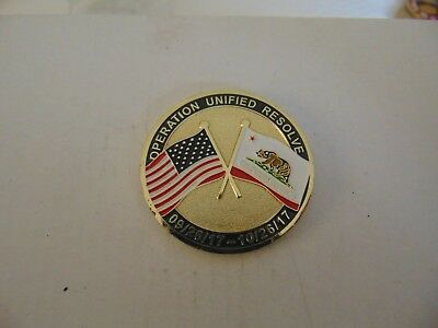 Challenge Coin Operation Unified Resolve 09/26/17-10/26/17 Usbp Calfire Sdfd Blm