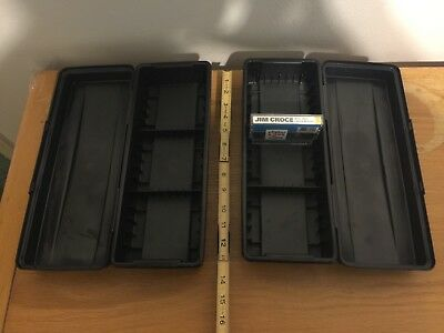 Audio Cassette Organizer Lot of 2, black plastic, stackable, holds 15 tapes each