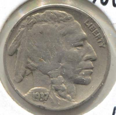 1937 Indian Buffalo Nickel - American Five Cent Coin - Philadelphia Mint