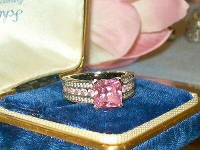 925 Sterling Silver Vintage Cocktail Ring ~ Pink Cushion cut Stone ~Ladies Sz 6