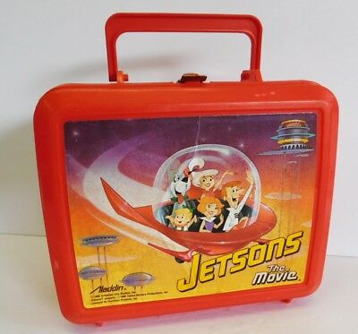 Vintage Jetsons The Movie Plastic Lunchbox Lunch Box Red Atomic 1990 Aladdin