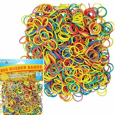 80g 1200 pcs Strong Elastic Rubber Bands Assorted Size for Home School Office