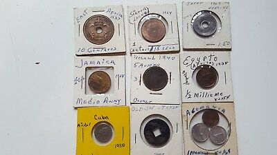 9 Assorted Coins Of The World 1937 To 1965 Mexico Iceland Egypt And More