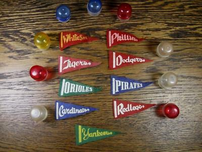 """Lot of 9 DIFFERENT MINI BASEBALL PENNANTS 2-7/8"""" long Gumball Prize & Capsules"""