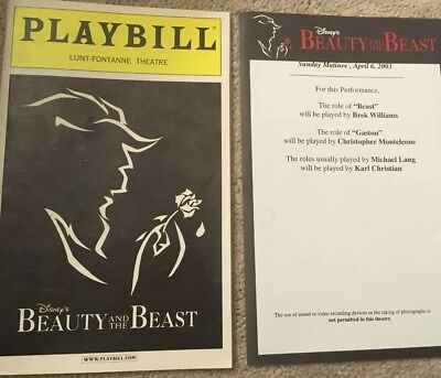 April 6, 2003 Beauty and the Beast Broadway Playbill, Lunt-Fontanne Theater