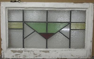 """MID SIZED OLD ENGLISH LEADED STAINED GLASS WINDOW Nice Geometric 25.25"""" x 15.5"""""""