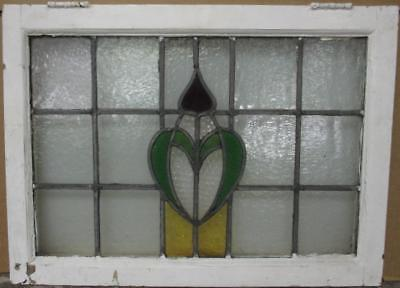 "MID SIZED OLD ENGLISH LEADED STAINED GLASS WINDOW Pretty Abstract 24.5"" x 18"""