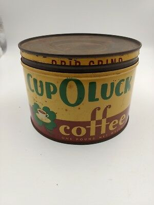 Vintage CUP O LUCK coffee can