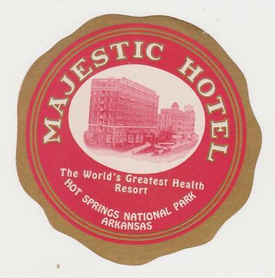 Luggage Label  Majestic Hotel Hot Springs Arkansas