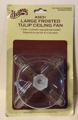 """NOS HOUSEWORKS Doll House Miniature 1"""" Scale 12v Tulip Ceiling Fan #2631"""