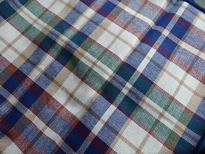 Longaberger Woven Traditions Plaid Napkins 2 Green Tan Maroon Navy Blue
