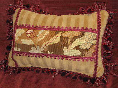 ANTIQUE 19TH c HAND STITCHED NEEDLEPOINT TAPESTRY LUMBAR PILLOW ABSTRACT FLORAL