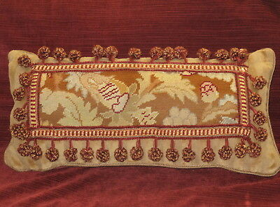 ANTIQUE 19TH c HAND STITCHED NEEDLEPOINT TAPESTRY LUMBAR PILLOW WOOLWORK SAMPLER