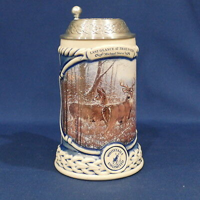 Whitetails Unlimited Collector Beer Stein Pewter Lid ~ Last Glance at Trail's En