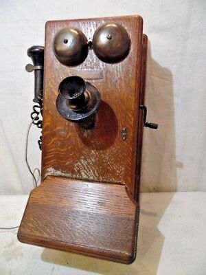 Antique 1900's Western Electric Wall Mount Rotary Dial Crank Phone Solid Oak