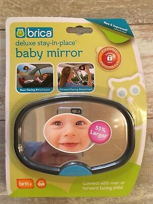 Brica Deluxe Stay In Place Baby Mirror Car Vehicle Auto Rear Forward Facing NEW!