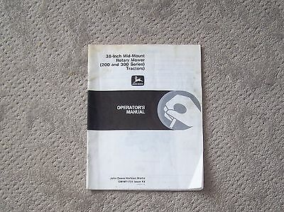 "John Deere 38"" Mid Mount Rotary Mower 200 & 300 Series Operators Manual B4"