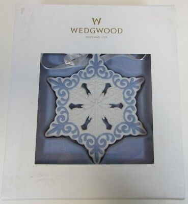 New Wedgwood White Pierced Snowflake Ornament Jasperware