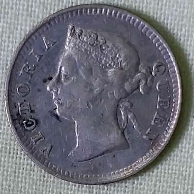 1885 china- hong kong victoria queen 5 cents 100% genuine