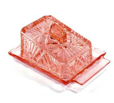 Vintage pretty pink depression pressed glass large lidded butter cheese dish