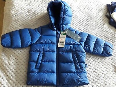Blue, United colours of Benetton baby coat aged 3-6 months