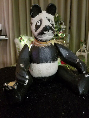 Rare Antique Wooden Panda Bear ~ Very Old NYC Estate Find!