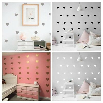 Heart Wall Stickers PVC Vinyl Removable Decals Home Nursery Decor Baby Girl Gift