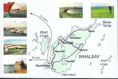 Map - Whalsay, West Linga, Shetland with views - local postcard