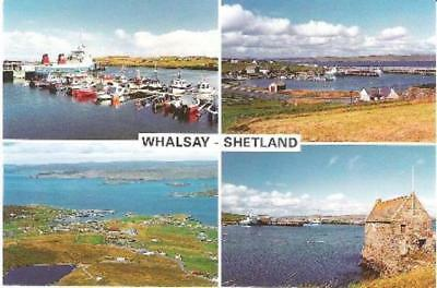Whalsay, Shetland - multiview postcard incl ferry, Symbister - local card