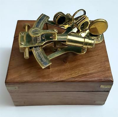 """NAUTICAL Marine Navigation INSTRUMENT 5"""" BRASS SEXTANT with WOOD BOX with DEFECT"""