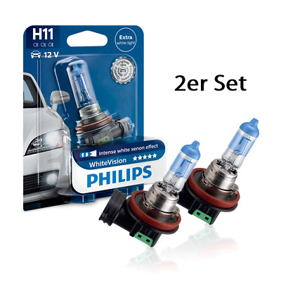 Philips H11 Halogen Lampe White Vision Xenon Effect 3700K 2erSet
