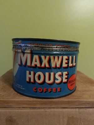 Vintage Maxwell House 1lb Empty Coffee Can Tin w/ Lid General Foods NJ, USA