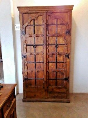 Handcarved Indian Antique Wardrobe Almirah Farmhouse Design Brown Natural