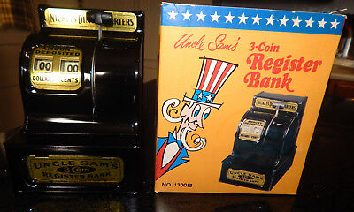 Vintage Uncle Sam's 3-Coin Register Bank- Original Box -By Western Stamping Corp