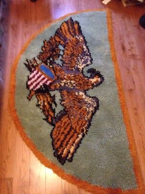 AMERICAN EAGLE & Shield Red White blue  HOOKED WOOL RUG