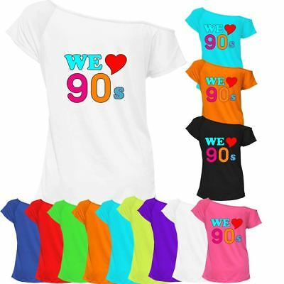 We Love 90s Tshirt Top Off Shoulder Ladies Womens Retro Pop Star Outfit 6824 Lot